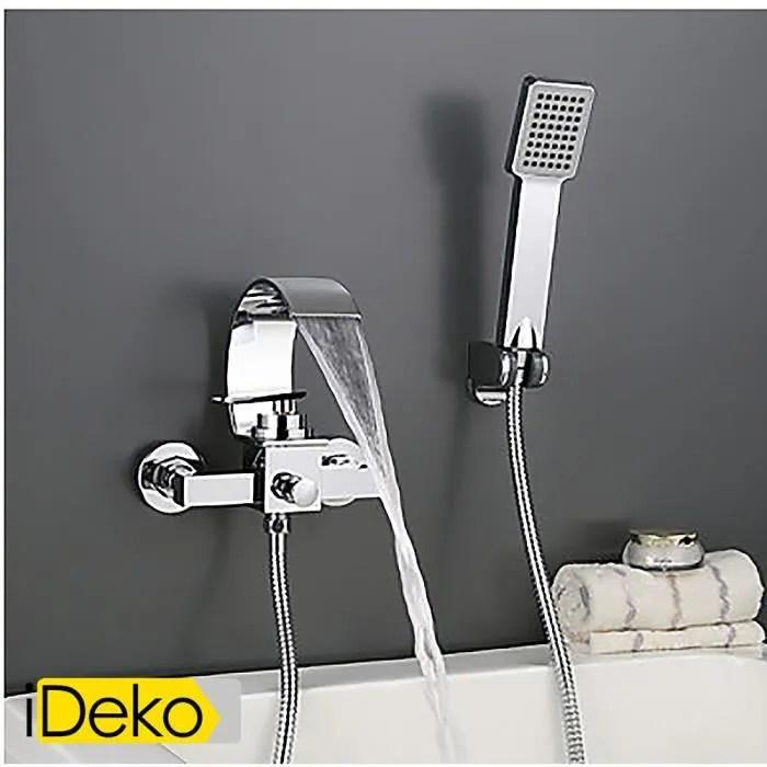 ideko robinet mitigeur baignoire montage mural chrome contempo romaine robinet cascade de salle de bains avec douche a main