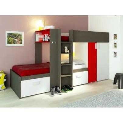 lits superposes julien 2x90x190cm armoire integree taupe et rouge