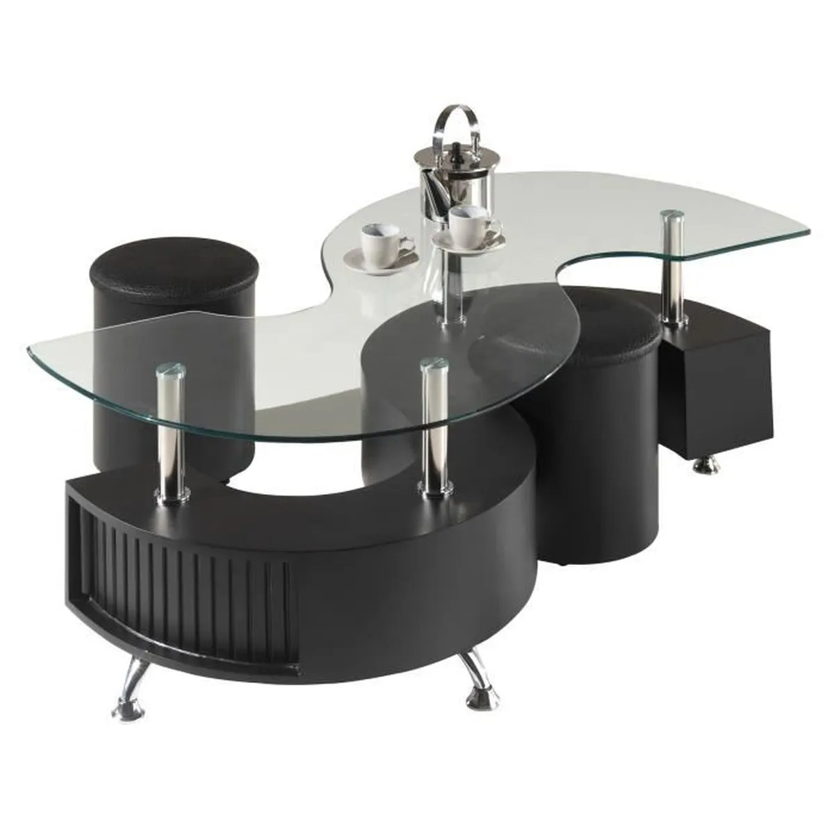 Table Basse Design S Avec 2 Poufs En Coloris Noir Noir