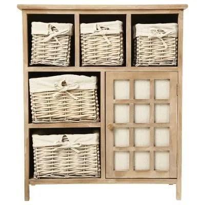 Meuble en bois 5 tiroirs paniers en osier avec hou  Achat