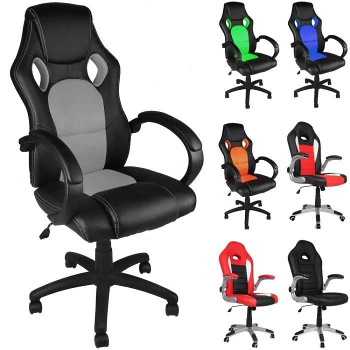 chaise de bureau sport noir et bleu