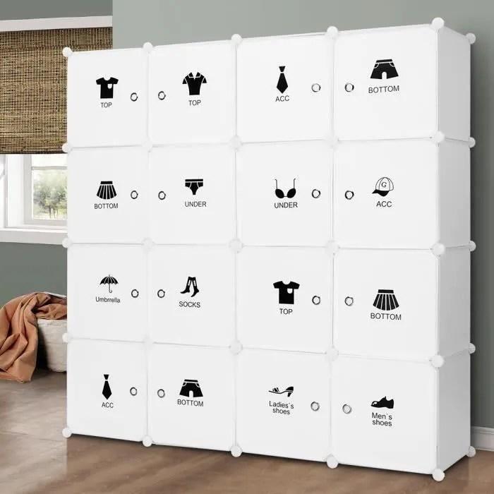 langria armoires etageres plastique meuble rangement chambre 16 cubes