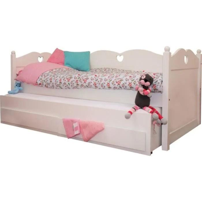 lit gigogne pour enfant avec tiroir 90x200 blanc