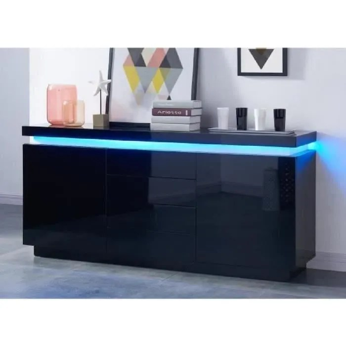 FLASH Buffet bas avec LED contemporain noir laqu brillant  L 175 cm  Achat  Vente buffet