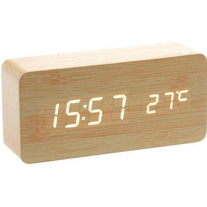 Horloge Rveil Alarme Digital LED en Bois Imitation Thermomtre Temprature USB AAA_BR  Achat