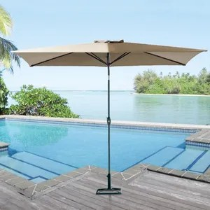parasol ikayaa parasol de patio jardin avec manivelle cont