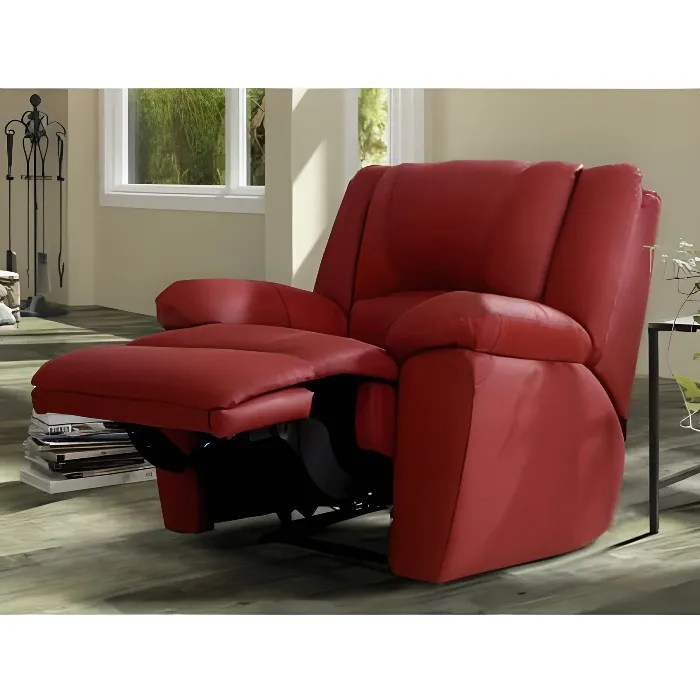 Fauteuil Relax En Cuir AROMA Rouge Achat Vente