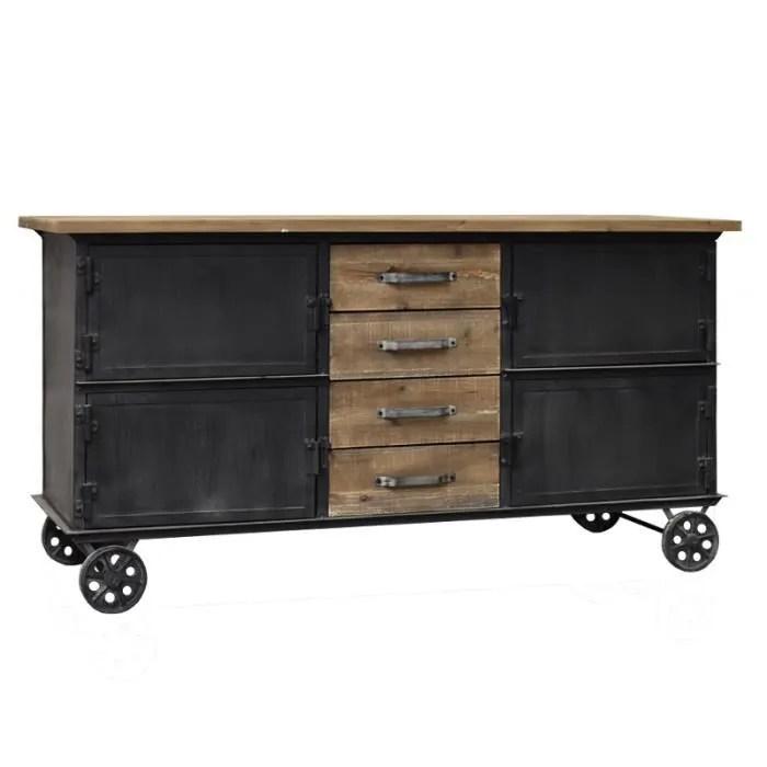meuble industriel campagne bahut enfilade a roulettes bois et fer 157 cm