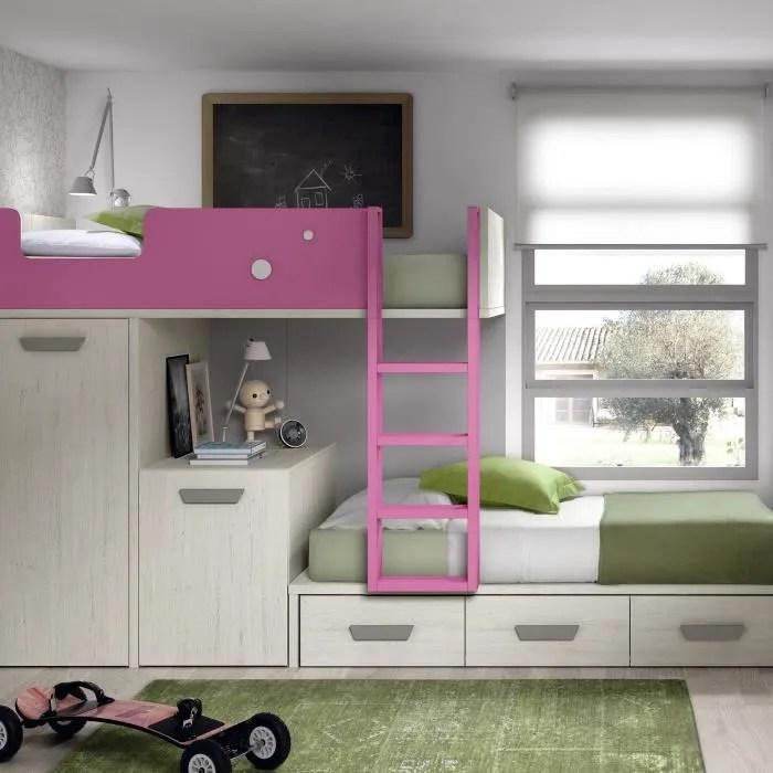 lits superposes avec armoire bright