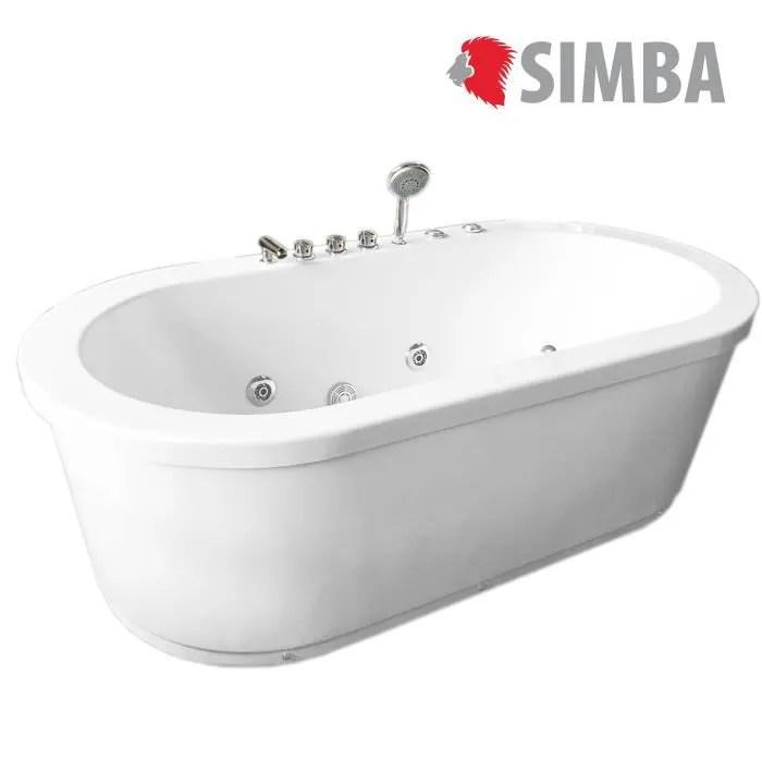 baignoire balneo rio baignoir ilot tourbillon massante 185 x 95 cm blanc