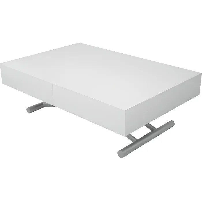 TABLE BASSE RELEVABLE EXTENSIBLE BLANC LAQUE SMART XXL