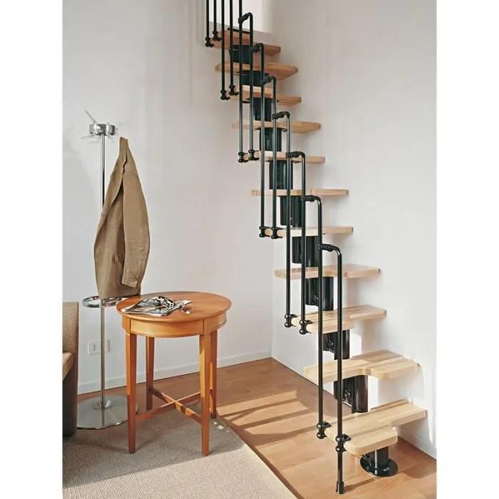 escalier gain de place karina de chez fontanot largeur 57cm hauter 231 280cm 11 marches 12 hauteurs noir claire