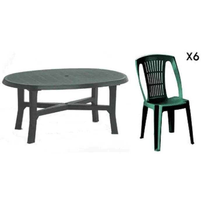 Table ovale verte  6 chaises jardin plastique vert empilables  Achat  Vente salon de jardin