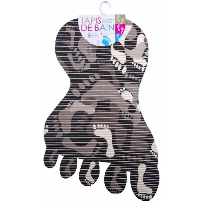 tapis de bain antiderapant decor tendance design empreintes pieds noir