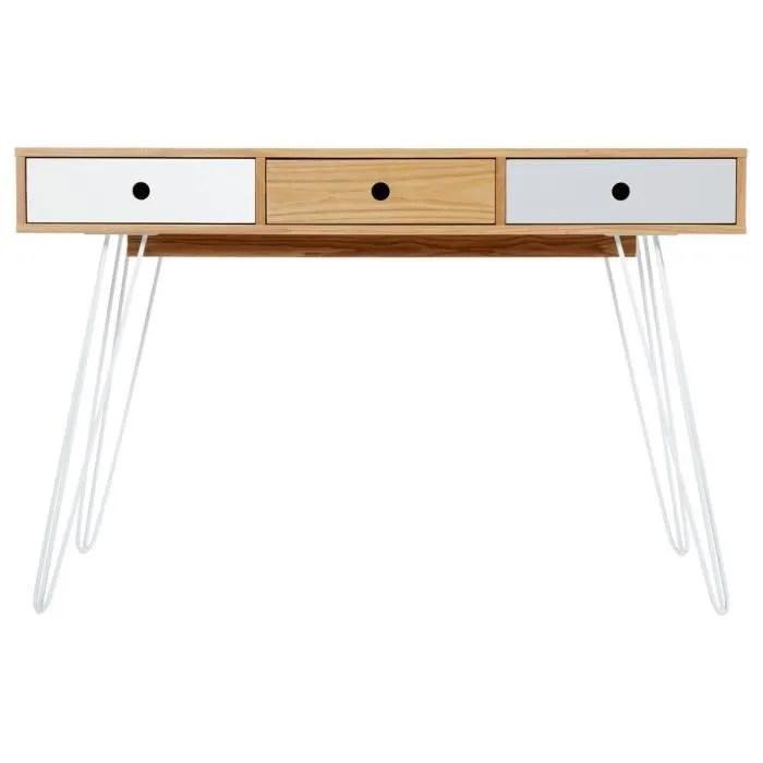 meuble console 3 tiroirs esprit scandinave coloris blanc gris
