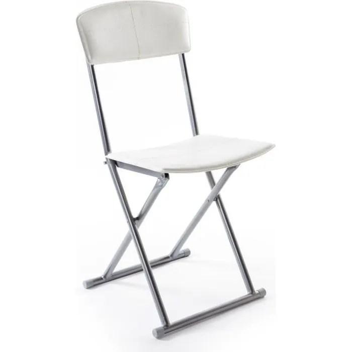chaise pliante simil cuir creme stella lot de 4