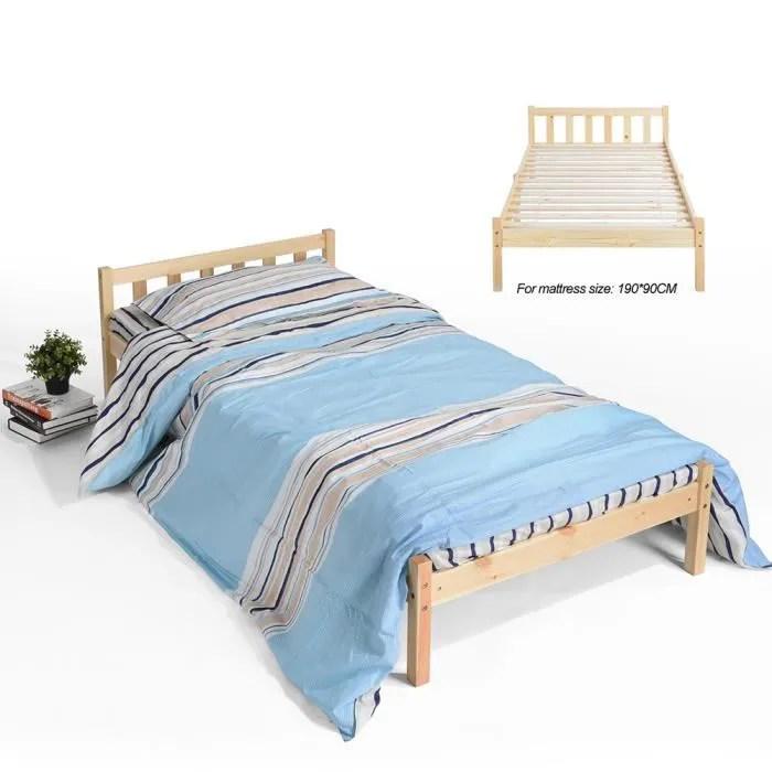 lit bois lit pin cadre de lit simple sans sommier 190 x 90 cm en lignes verticales