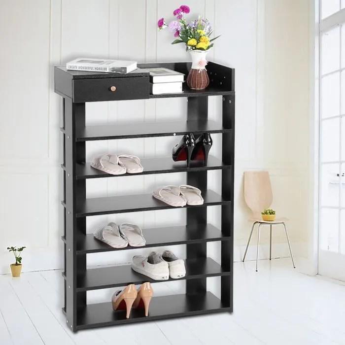 meuble rangement a chaussures 6 niveaux noir