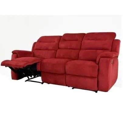 canape 3 places relax en microfibre simono rouge