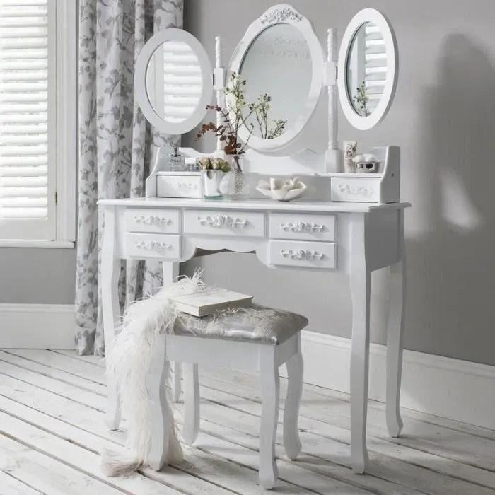 laura james monaco set coiffeuse blanche miroir et tabouret 7 tiroirs