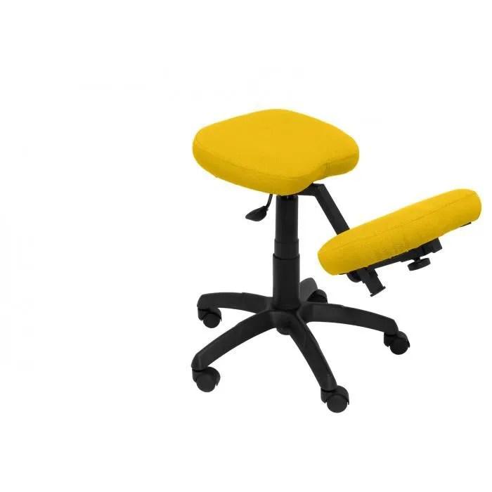 modele 37g tabouret de bureau ergonomique pivotant et reglable en hauteur tapisse en tissu bali couleur jaune genouillere