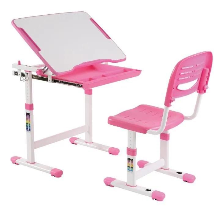ensemble bureau et chaise pour enfant alumno table a dessin et chaise reglables en hauteur et pupitre inclinable coloris rose
