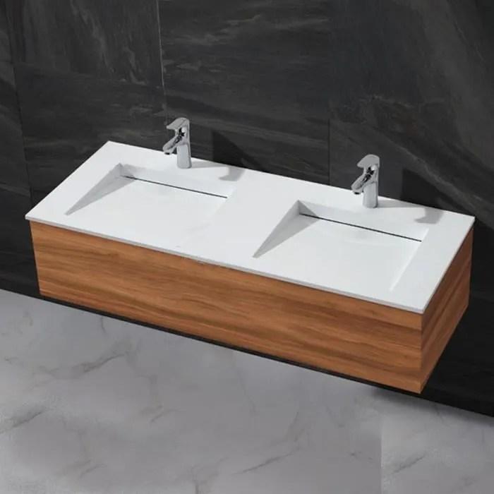 lavabo a poser double vasque blanc mat 120x50 cm composite duo