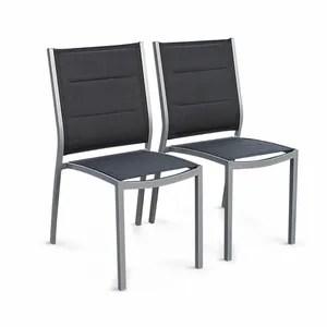 fauteuil jardin lot de 2 chaises chicago en aluminium et textilene