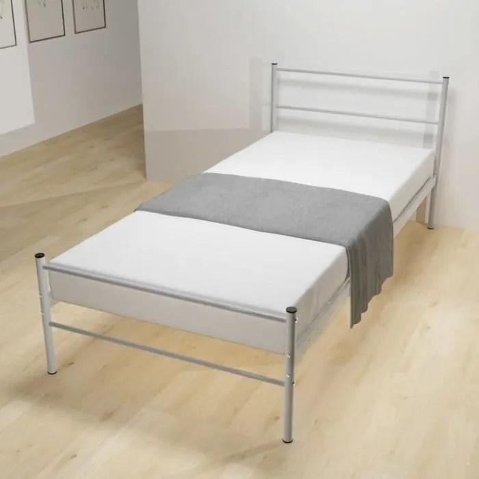 magnifique cadre de lit metal gris 90 x 200 cm