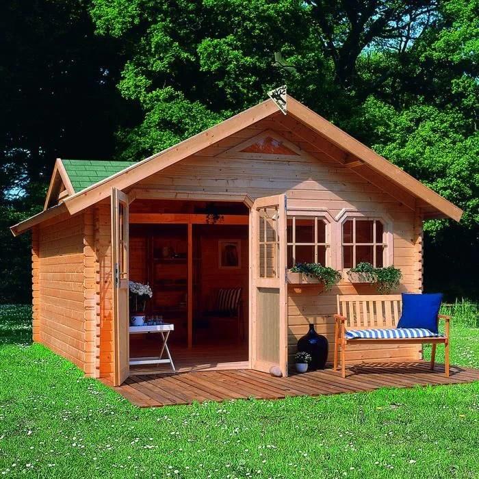 Abri de jardin bois 1910 m2 DODERIC 4 40mm L  Achat  Vente abri jardin  chalet Abri de