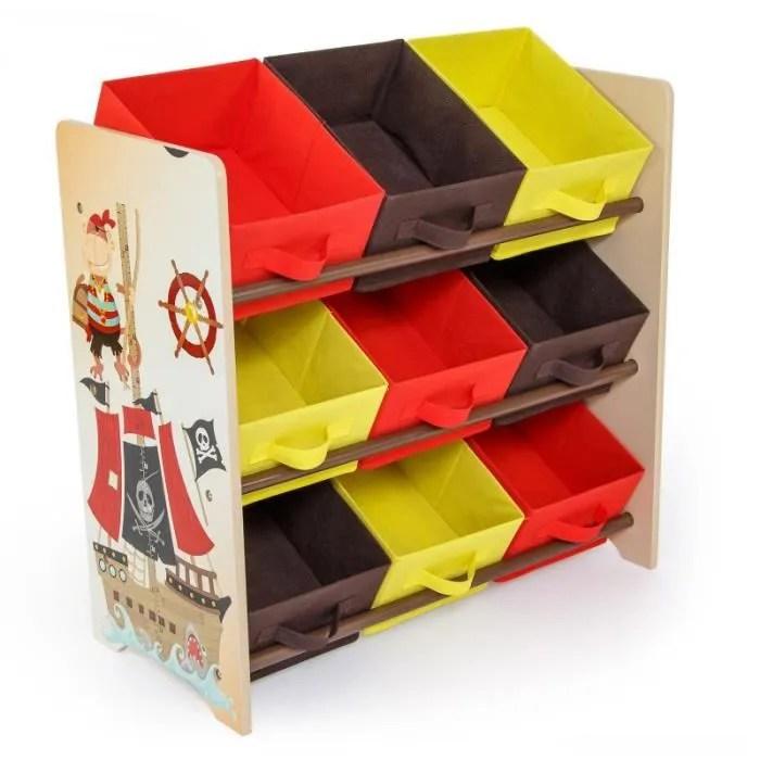 meuble de rangement etagere jouet panier chambre enfant motif pirate ape06006