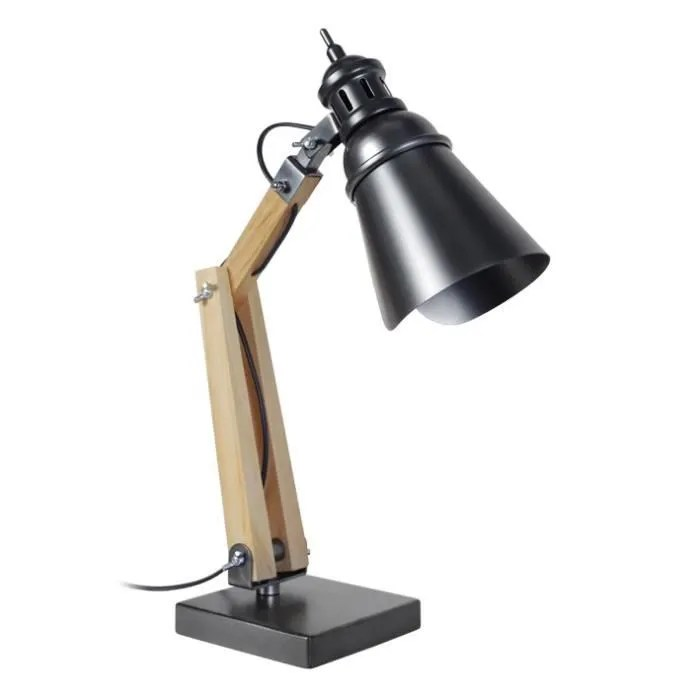 iron lampe de bureau style industriel articulee 50cm bois et metal e27 40w