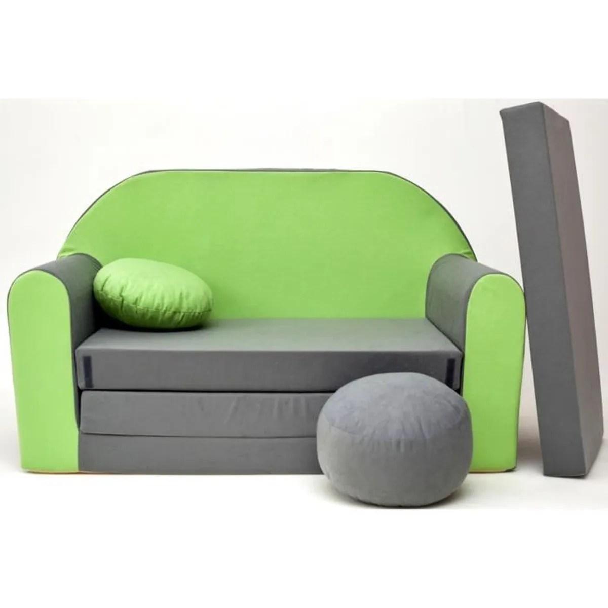 Canape Sofa enfant 2 places convertible gris vert  Achat  Vente fauteuil  canap bb