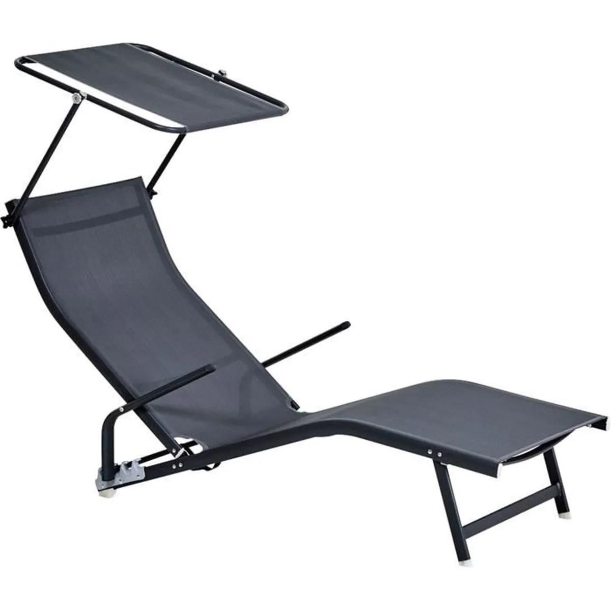transat avec parasol transat ext rieur en textilene noir. Black Bedroom Furniture Sets. Home Design Ideas