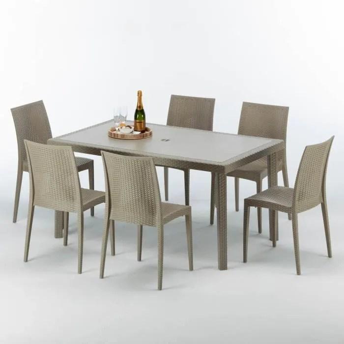salon de jardin table rectangulaire et 6 chaises poly rotin resine