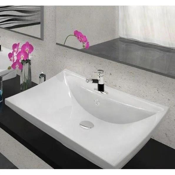 Vasque Poser En Cramique Blanche 40 X 62 Cm Achat
