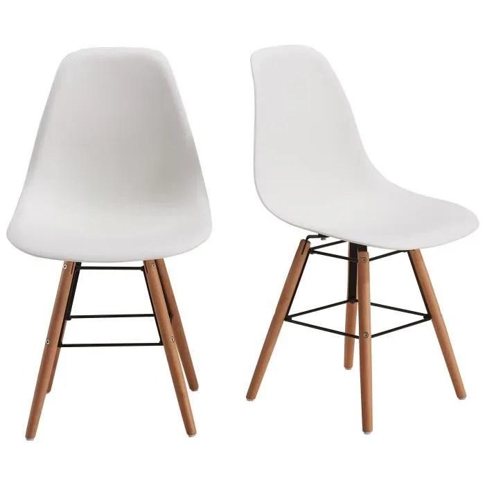 rena lot de 2 chaises salle a manger blanc pieds bois hetre massif scandinave l 52 x p 46 5 cm