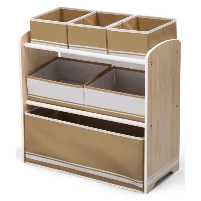deltakids meuble enfant de rangement jouets livres en bois blanc et bois