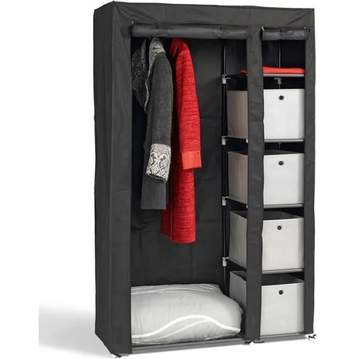 armoire penderie en metal et tissu refermable 177x108x45 cm