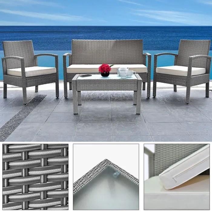 ensemble de meubles de jardin patio 7 pieces polyrotin gris table chaises banc