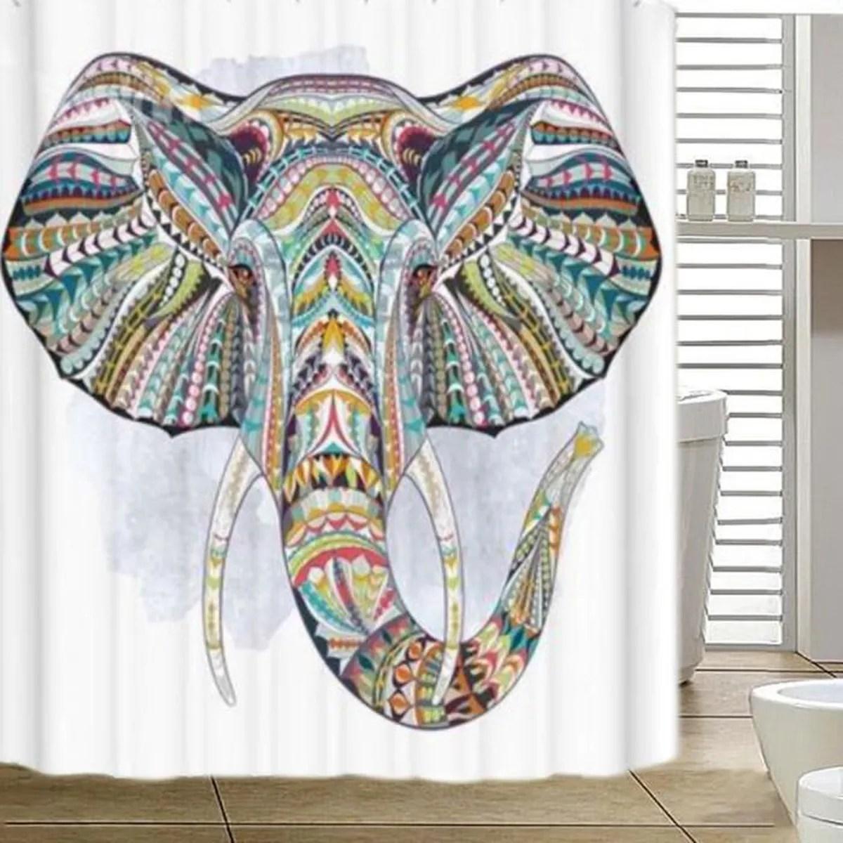 Tempsa Rideau Douche Elephant Colore Avec Crochets Etanche