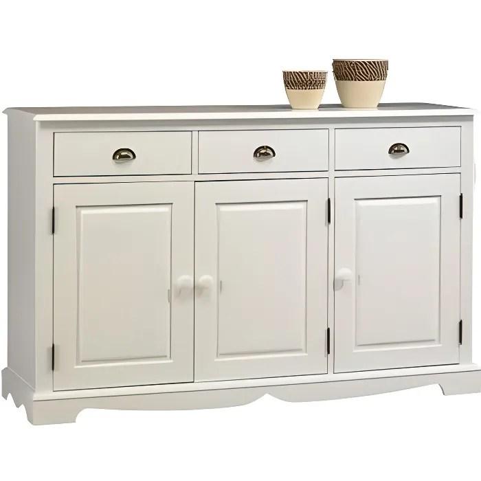 buffet blanc de style anglais 3 portes 3 tiroirs