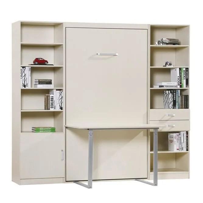 armoire lit escamotable fast 2 colonnes et bureau