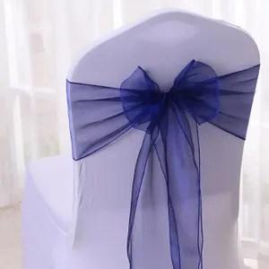 tulle noeud ruban 25pcs organza noeud chaise bleu fonce tulle deco m