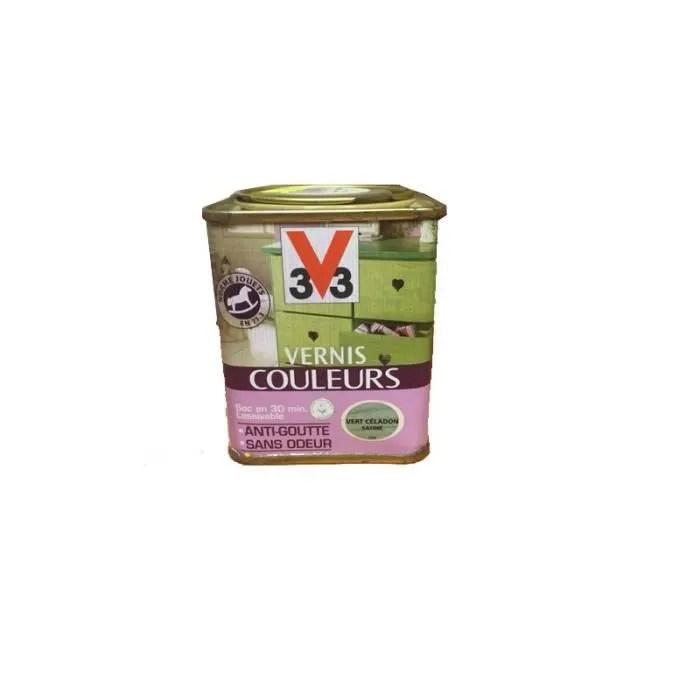 vernis couleur vert celadon satine anti goutte et sans odeur sec en 30 min 0 25 l v33