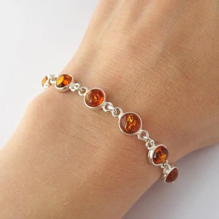 Bracelet ambre argent massif 925  Achat  Vente bracelet  gourmette Bracelet ambre argent