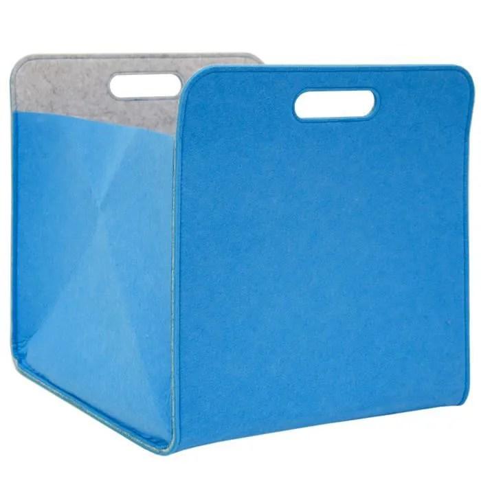 Boîte De Rangement Feutre 33x33x38 Cm Kallax Panier Feutrine étagère Ikea Bleu