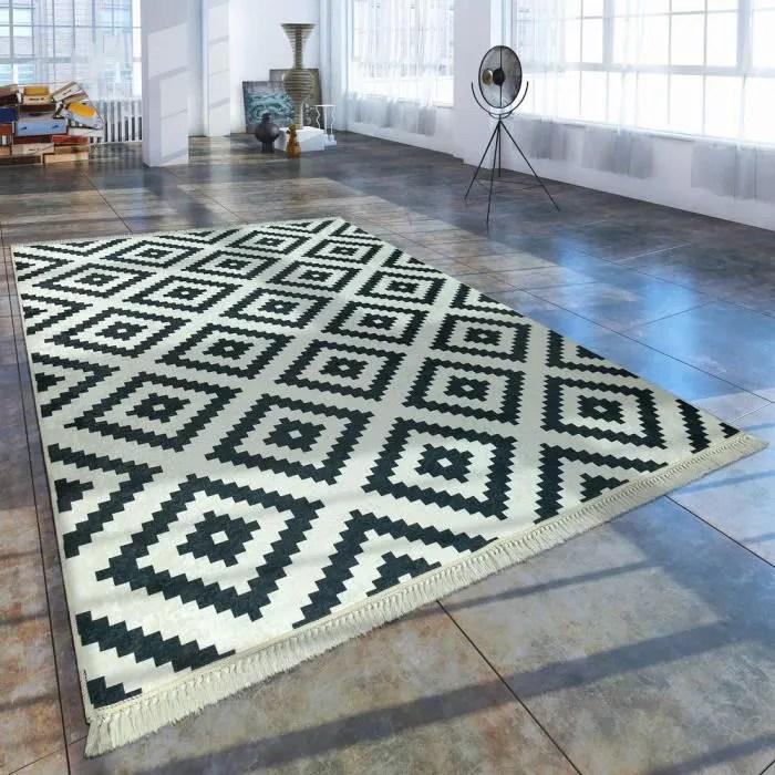 tapis tendance motif losanges noir blanc 80x150 cm