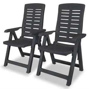 fauteuil jardin vidaxl chaise inclinable de jardin 2 pcs plastique
