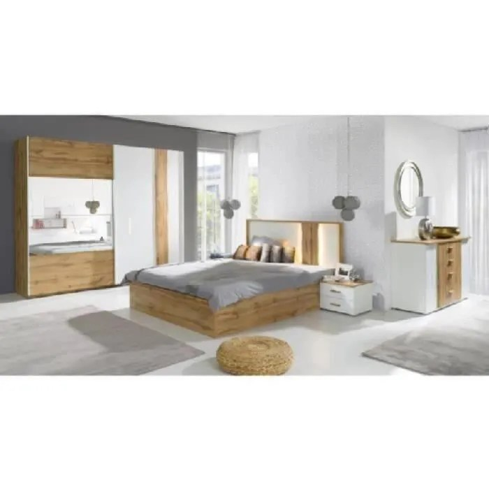 price factory chambre a coucher complete wood chene et blanc lit coffre 160x200 cm sommier armoire 200 cm commode 2 chevets